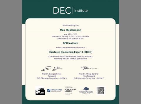 DEC Institute Zertifikat Blockchain
